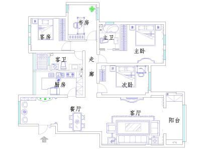 简欧风格-188平米三居室装修设计