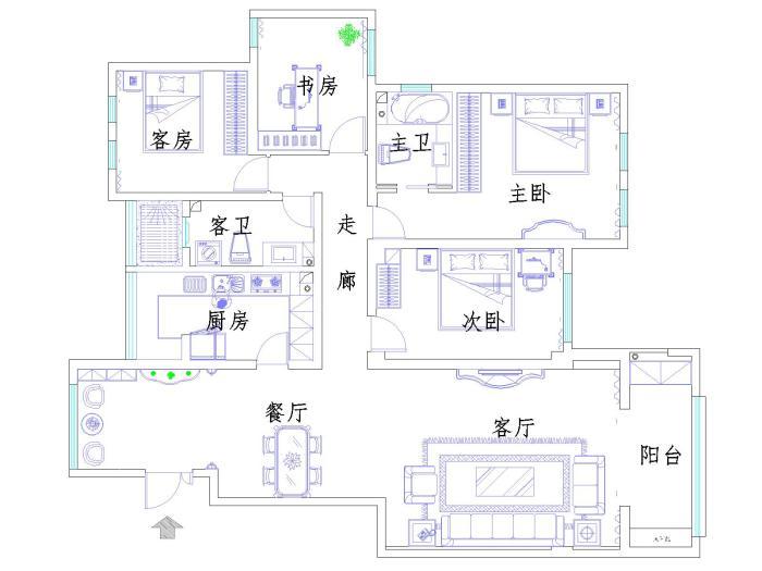 简欧风格-188平米三居室-装修设计