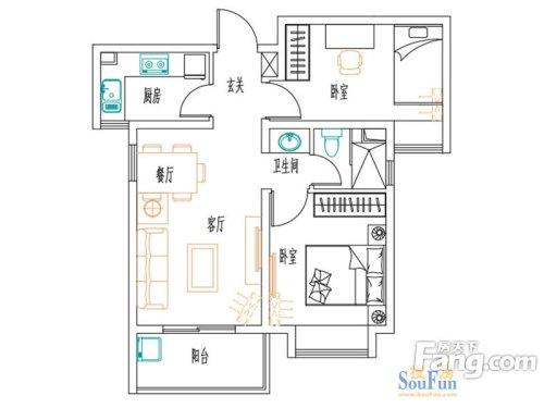 安联新青年两室两厅现代简约风格设计