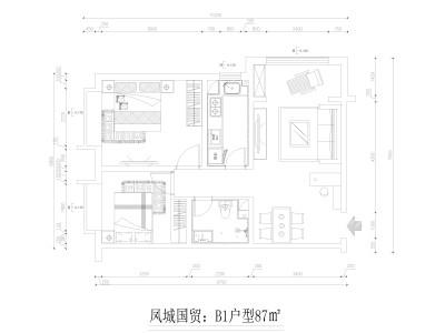 地中海风格-87平米二居室装修样板间