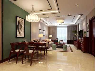 新中式风格-97.5平米二居室装修样板间