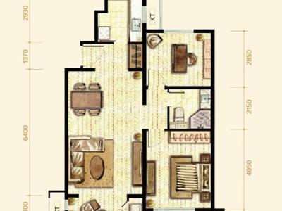 简欧风格-88平米二居室装修样板间