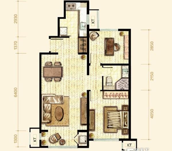 简欧风格-88平米二居室-装修样板间