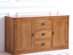 泽润木业-ZR118全实木仿古色两门三抽餐边柜