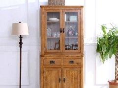 泽润木业-ZR105T全实木仿古色餐边柜上柜