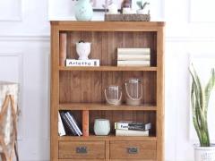 泽润木业-ZR109全实木仿古色两抽矮书柜