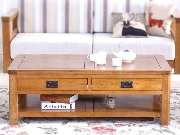 泽润木业-ZR115全实木仿古色咖啡桌