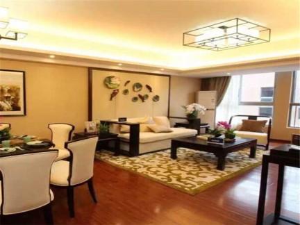 新中式三居室客厅背景墙装修效果图