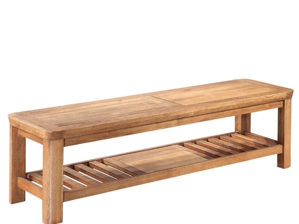 泽润木业-ZR125全实木仿古色床尾凳