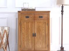 泽润木业-ZR132全实木仿古色两门鞋柜