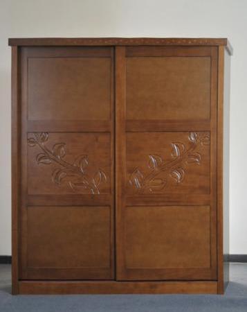一木缘 橄榄枝推拉衣柜 栗子色 纯实木