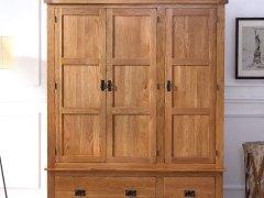 泽润木业-WX1002全实木仿古色三门衣柜