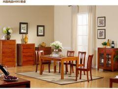 宜华家居纯实木餐桌6人餐桌 新中式家具餐厅H001