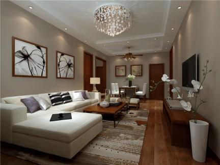 新中式三居室客厅背景墙装修效果图大全