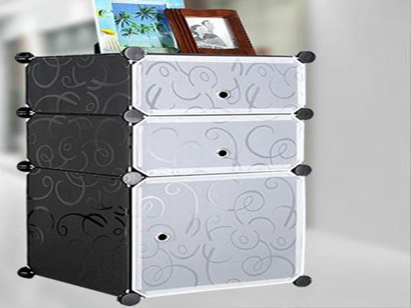 酷莹现代简约简易床头柜 特价宜家卧室床边柜 角柜欧式塑料储物