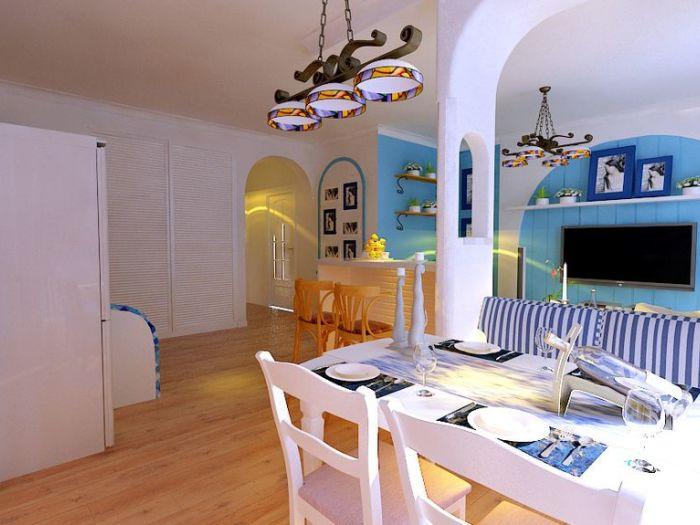 地中海风格-135平米三居室-装修样板间
