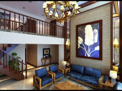 东南亚风格-276.59平米三居室装修样板间