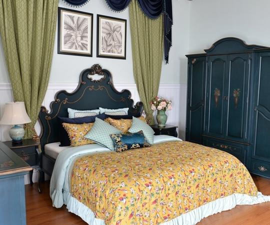 美联邦美式乡村实木卧室家具彩绘双人床