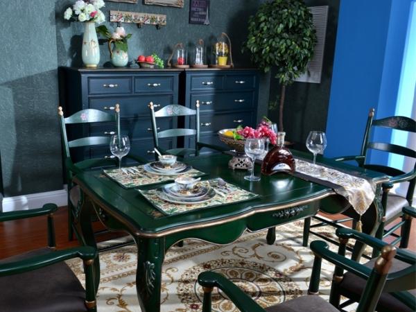 美联邦乡村风格彩色实木餐桌彩绘饭桌