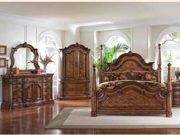 美联邦古典美式卧室家具美标实木柱子床