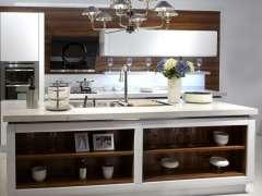 佰丽爱家现代简约整体厨柜金属烤漆门板石英石台面 1延米价格