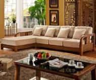 预林氏木业简约中式实木沙发现代木质客厅布沙发组合家具LS86图片