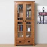 源氏木语实木书柜北欧白橡木书房带玻璃门书架环保置物架展示柜图片