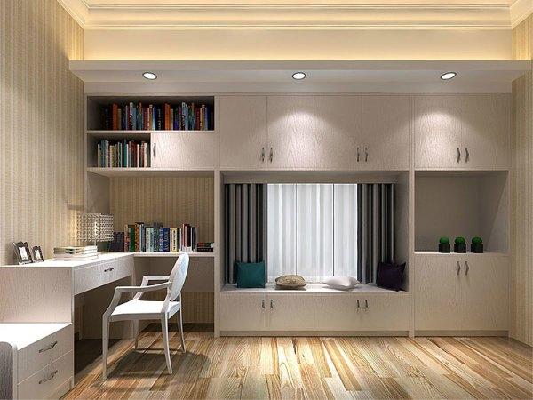 史丹利简约时尚系列白橡色书柜榻榻米组合