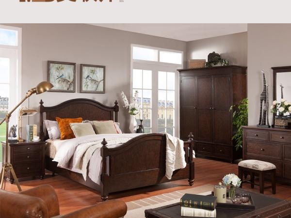 美联邦简约美式家具卧室1.8米实木咖啡色双人床