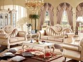 法式奢华真皮布艺结合沙发