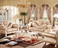 法式奢华真皮布艺结合沙发图片