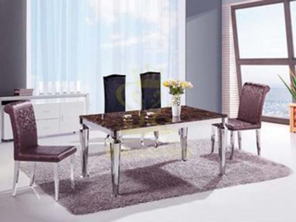 优质不锈钢脚 高档大理石餐桌