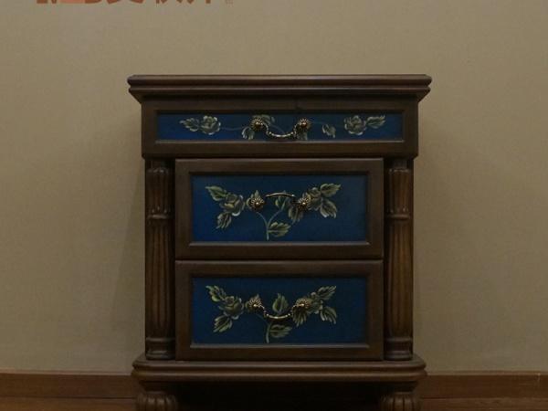 美联邦美式彩绘二斗柜抽屉柜收纳柜