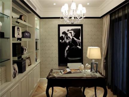 新古典风格三居室书房窗帘装修效果图图片