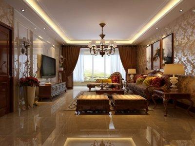 中式古典-202平米三居室装修样板间