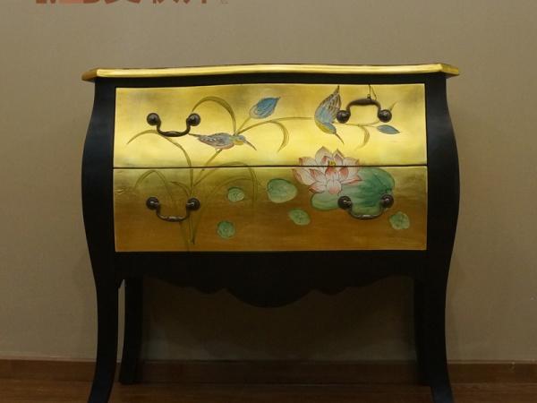 美联邦板木金色彩绘斗柜收纳柜装饰柜