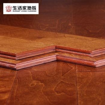 生活家 多层实木复合木地板 15mm桦木手工擦色 地热 耐磨