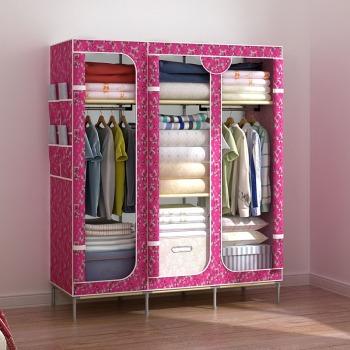 木林氏 简易衣柜 大容量三门拉链式牛津布衣柜 可拆卸组合折叠