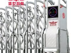 盛世昌隆 高档不锈钢伸缩门 企业自动门 单轨铝合金电动伸缩门