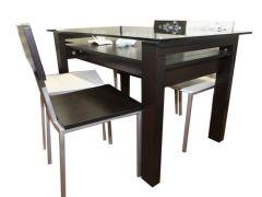 欧迪克 双层餐桌 四把椅 黑 吉林森工露水河E0板