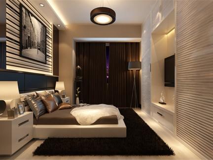 现代简约二居室卧室影视墙装修图片