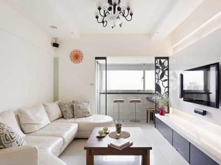 现代简约四居室客厅影视墙装修图片