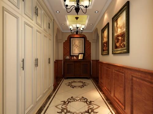 美式风格—金隅澜湾 —叠拼 喜欢 0 门厅以花梨实木墙板结合经典美式图片