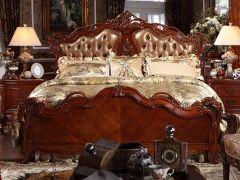 欧式实木双人床1.8 卧室皮艺婚床美式真皮软包床B-297