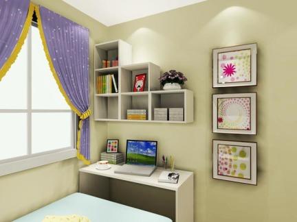 现代简约三居室儿童房书架装修效果图欣赏图片