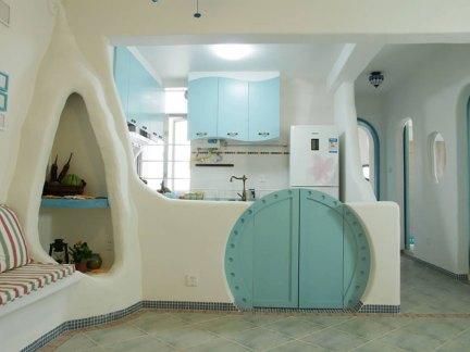 地中海风格二居室厨房推拉门装修效果图大全