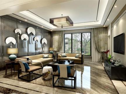新中式风格别墅客厅影视墙装修效果图欣赏图片