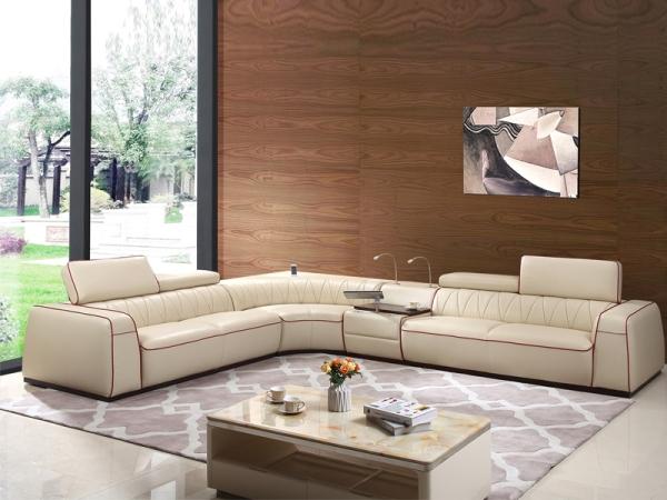 A家家居真皮沙发现代简约大户型客厅组合转角沙发A8001