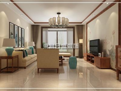 现代中式-128平米三居室装修样板间