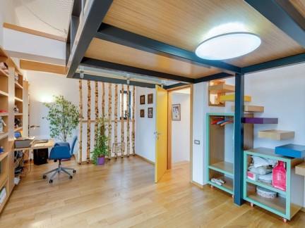 木质原木色复式房混搭风格书房装修设计
